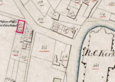 Uitsnede uit de kadastrale tekening van 1832.