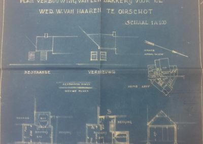 Blauwdruk voor de verbouwing van 1934.
